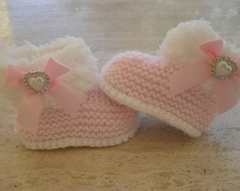 Knitted Baby Girl Fur Booties, Baby Girl Boots, Baby Girl Booties, Pink Baby Booties  - Size 3 to 6 Months Ready Made