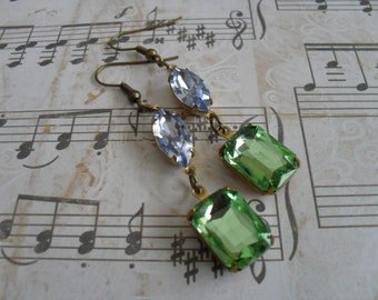 VINTAGE Peridot & Light Blue Rhinestone EARRINGS  /  Pastel Rhinestone Earrings / Czech Glass /  Dangle / Bridesmaid Earrings / Estate Style