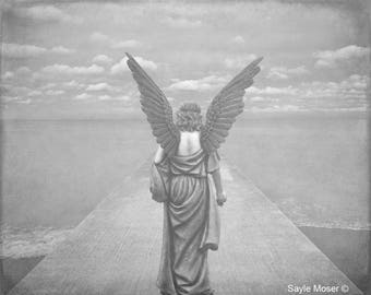 Guardian Angel on Pier Black and White Fine Art Photograph, Wall Art, Angel Image, Religious Photography, Angel Wings Photo, Spiritual Print