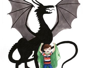 Print Illustration, Watercolor Art - Boy Pretends to be Dragon, Child imagination, Open Edition, 5x7