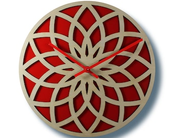 laser cut clock LOTUS WALL CLOCK trending clock modern wall clock birch clock lotus clock wood clock home decor modern clock red wall clock