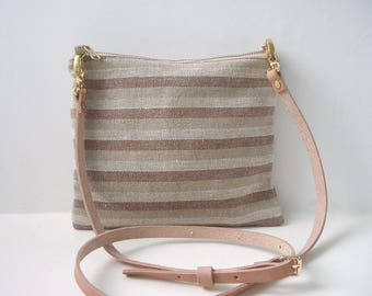 Summer Crossbody Purse in Striped Linen, Convertible Crossbody Bag, Wristlet