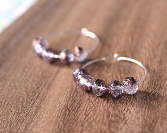 sterling silver bronzed purple czech glass hoop earrings