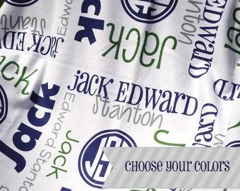Baby Boy Blanket with Name & Monogram - Personalized Receiving Blanket - Custom Baby Blanket - Newborn Hospital Blanket - Baby Boy Gift
