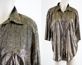 U Turn of California Black and Gold Button Down Short Sleeve Loose Fit Woman's Vintage Blouse