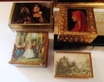 Four Florentine Boxes, Trinket Wood Boxes, Italian Florentine Boxes, Vintage Boxes, Tablescape Decor, Hollywood Regency, Home Office Decor