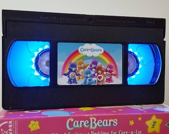 Retro VHS Lamp Carebears Night Light Table Lamp, Cute Movie . Order any movie! Great personal gift. Bedroom. Office. Mothers Day Mothers Day