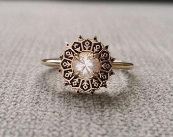 "Antiqued White Sapphire Filigree Engagement Ring Art Deco Edwardian Art Nouveau 14 K Yellow Gold size ""The Clara Jane"""