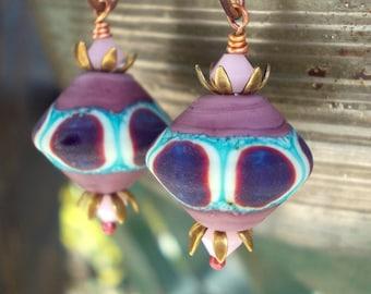 Handmade Lavender Purple Dangle Earrings women artisan lampwork glass beaded wire work forged copper plum mauve violet bohemian boho gypsy