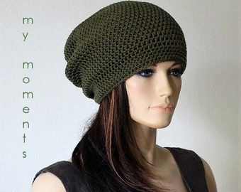 CAP Slouch Summer Crochet  Cotton khaki