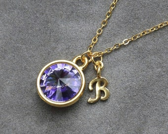 Gold Tanzanite Necklace, December Birthstone Jewelry, Personalized Initial, Custom Birthstone, Tanzanite Jewelry