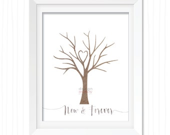 Fingerprint Tree Wedding Guest Book Now and Forever Thumbprint Tree Wedding Shower Gift Unique Guest Book Bridal Shower