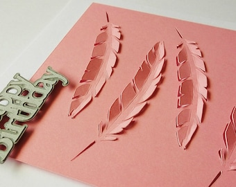 Pink Papercut  Feather Happy Birthday Card