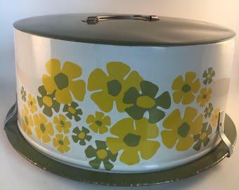 Vintage Decoware metal flower power cake carrier
