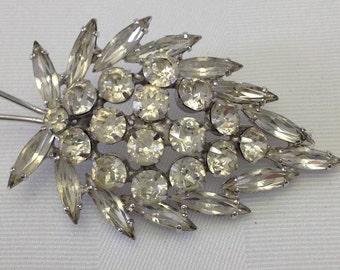 Stunning Vintage Diamond Clear Rhinestone Leaf Brooch