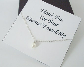 Solitaire White Pearl Sterling Silver Necklace ~~Personalized Jewelry Gift Card for Best Friend, Sister, Bridal Party, Weddings, Graduation