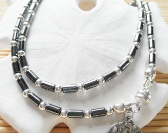 "21"" Necklace aka 3 strand 7 Inch Hematite & Silver Beaded bracelet"