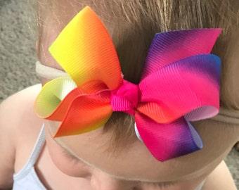 Baby Girl Headband Rainbow Bow / Rainbow Color Bow Headband / Baby Girl Headband