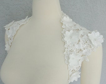 Beautiful Wedding Bridal Off White Flower Applique Lace Keyhole Back Bolero Shrug Jacket. Made to order.