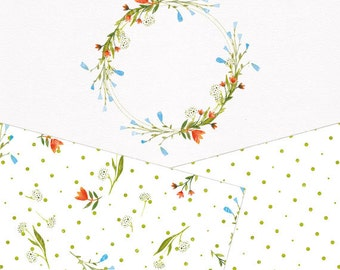 Floral Collection. Hand painted frame and patterns. Watercolor design