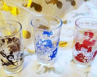 Vintage Children's Juice Glasses with Animal Images  Deer Pig Elephant Swanky Swigs Set of Three