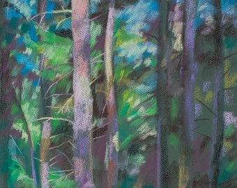 Forest Summer Sunset Pastel Abstract landscape