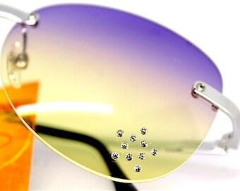 Occhiali da sole donna ovale senza montatura lente sfumata viola giallo stella brillantini Sunglasses oval rimless Yellow purple Made Italy