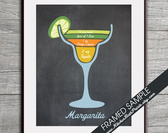 Margarita Recipe Diagram (Tequila Cocktail)  Art Print (Featured Vintage Chalkboard) Cocktails and Mixers Recipe Chart