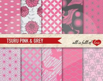 Oriental Patterns JAPAN Digital Paper Pack Tsuru Background Scrapbook Pink Grey Background Valentines Digital Paper Japanese graphics
