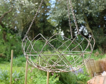 Vintage Twisted Wire Hanging Basket 1