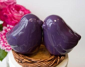 Plum Colored Love Bird Cake Topper