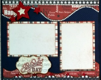 Premade Double Page 12 x 12 Layout Fourth of July Independence Day