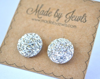 Silver Faux Druzy Stone Hypoallergenic Button Stud Post Earring Jewelry