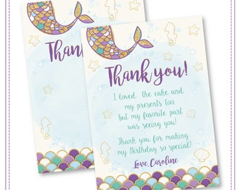 Mermaid Thank You Card Mermaid Birthday Invitation Gold Sparkle Mermaid Invitation Under The Sea Invitation Mermaid Birthday Party