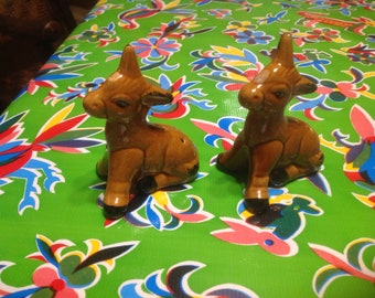 Vintage hand painted ceramic donkey or mule salt and pepper shakers