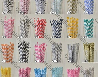 50 Pieces Paper Drinking Straws in Striped/Chevron/Polka Dot for any venue birthday parties