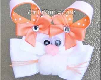 PEACH Bunny Hair Bow, Easter Hair Bow, Bunny Hair Clip, Rabbit Hair Bow, Bunny Bow, Easter Bow, Spring Hair Bow