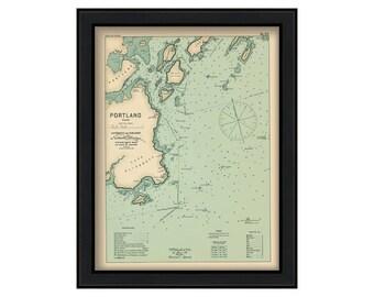 Portland Harbor 1909 Colored - Nautical Chart by Geo. Eldridge