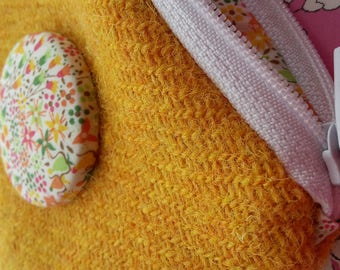 Harris Tweed Yellow Coin Purse, Liberty Eve, Fabric Coin Purse, Summer Flower Purse, Tweed Coin Purse, Gifts for Teenage Girls, Floral, Wool