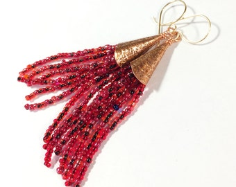 Etched Copper, Beaded Tassel Earrings - Free Domestic Shipping