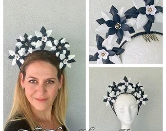 Ladies navy & white leather halo  headband fascinator
