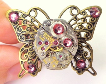 PS,Steampunk Butterfly Ring,Steam Punk Ring,Filigree Butterfly,Antique Ruby Jeweled, Watch Movement,Cosplay,Gothic Jewelry, Pink Crystal