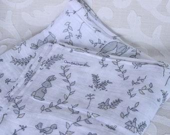 White  and Grey, Woodland, Double Gauze Baby Blanket, Swaddle Blanket, Baby Shower Gift, Baby