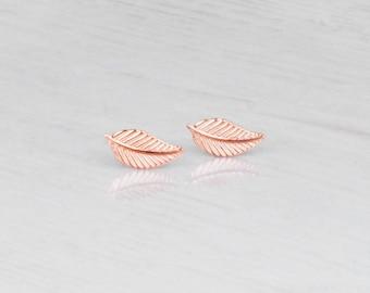Leaf Stud Earrings, Tiny Rose Gold Studs, Rose Gold Stud Earrings, Delicate Gold Earrings, Small Earrings, Dainty Studs, Tiny Leaf Posts