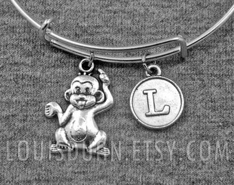 Monkey Bracelet -Silver Adjustable Bangle -Initial Charms Bracelet -Your Choice of A to Z