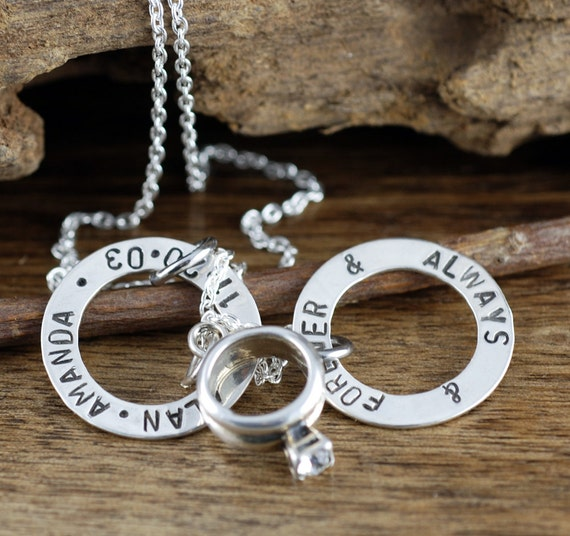 Engagement Ring Necklace, Anniversary Necklace, Gift for Wedding, Gift for Bride, Wedding GIft, Forever and Always, Date Necklace