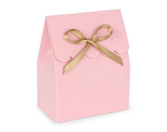 Favor boxes, Pink and gold favor boxes, Favor boxes pink, Pink favor box, Pink and gold favor bags, Baby favor box, Candy boxes, Set of 8