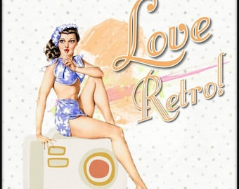 Love Retro | decor Retro poster  | wall poster Retro | cheap Retro wall poster | home decor |  Retro poster | entry poster/Retro / poster