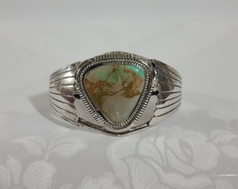 Cuff Bracelet, Sterling Silver, Turquoise, Southwest Jewelry, Vintage