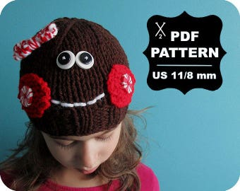 English-French Two Needle KNITTING PATTERN / Digital Download / #60 / Knitted Gingerbread Hat / 6-16M to 5 years-Adult / US11 / 8mm